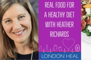 Nutritionist Heather Richards talking about a real food healthy diet on a podcast