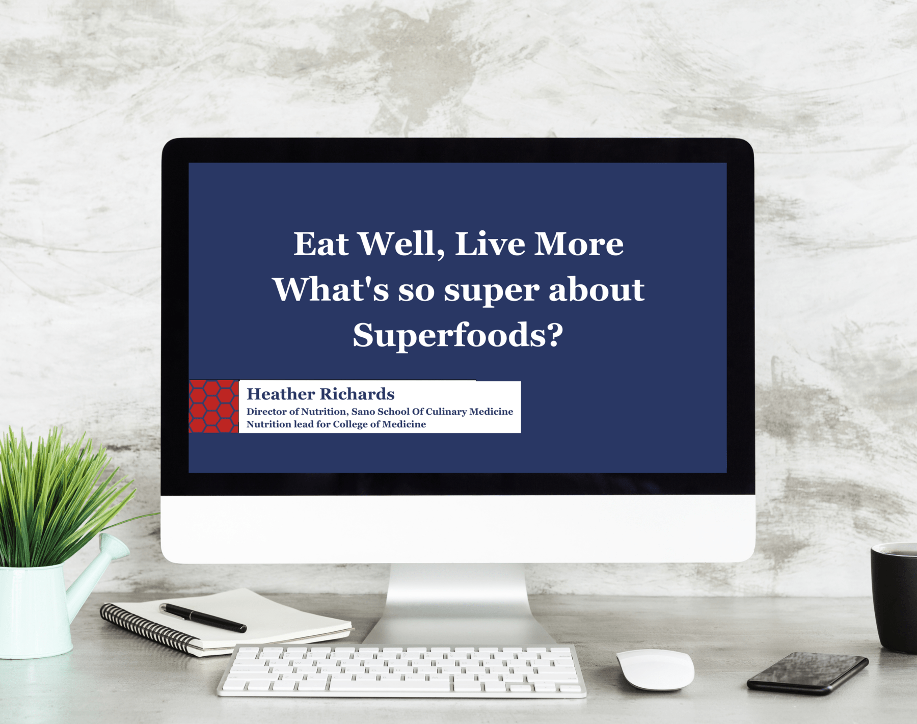 Computer showing 'What's so super about superfoods' webinar