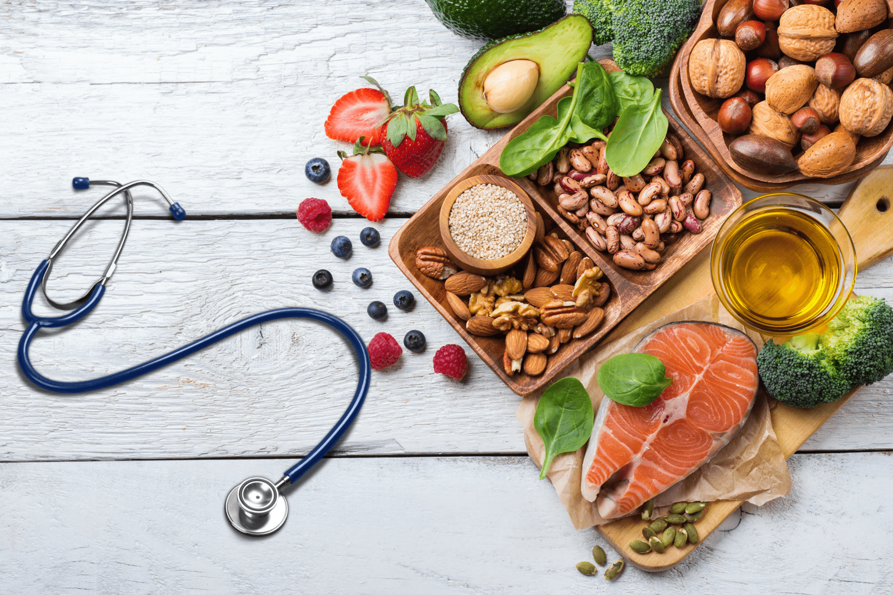 healthy food with doctors stethoscope