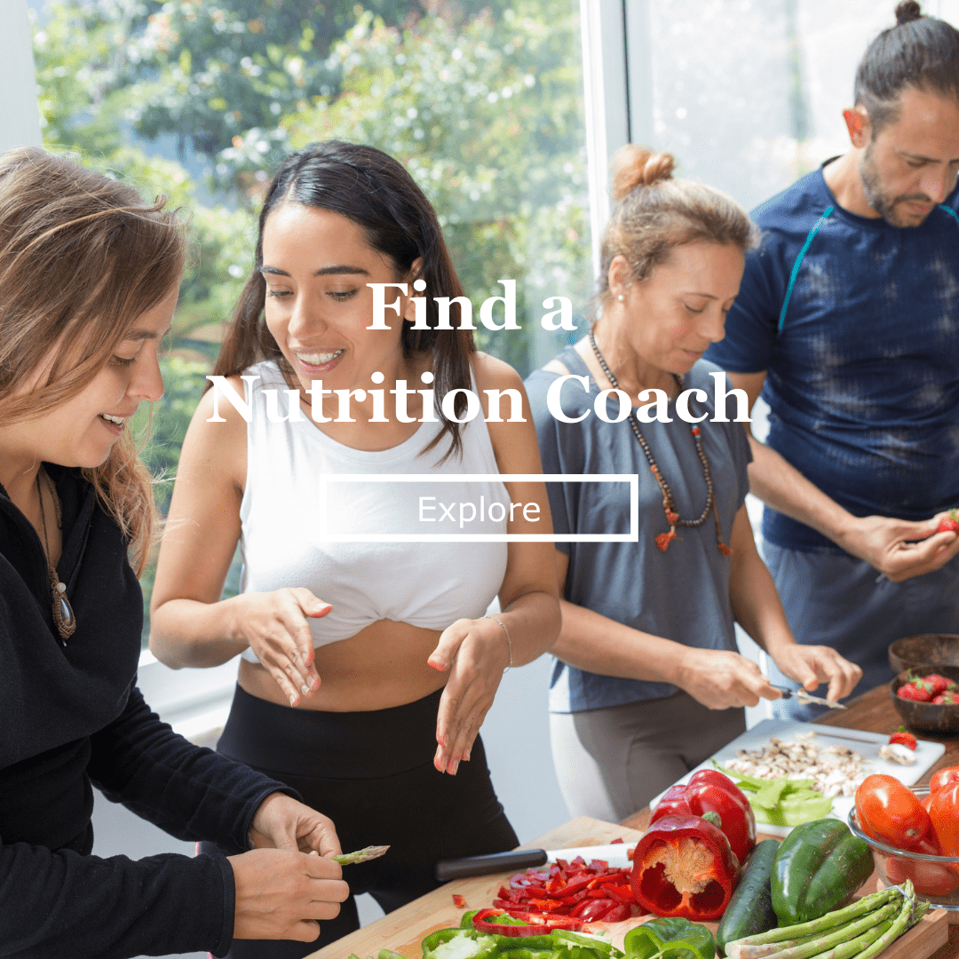 nutrition coach explaining to clients at a buffet