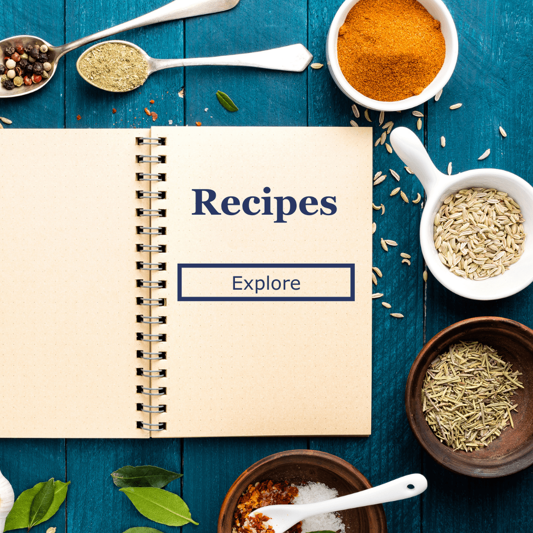 recipe jpurnal surrounded by herbs and spices