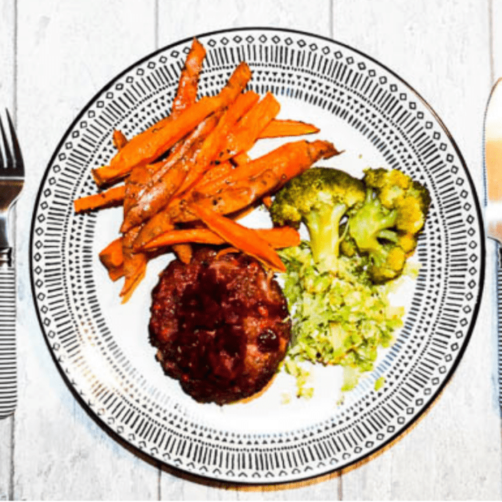 Beef and beetroot burger with sweet potato fries