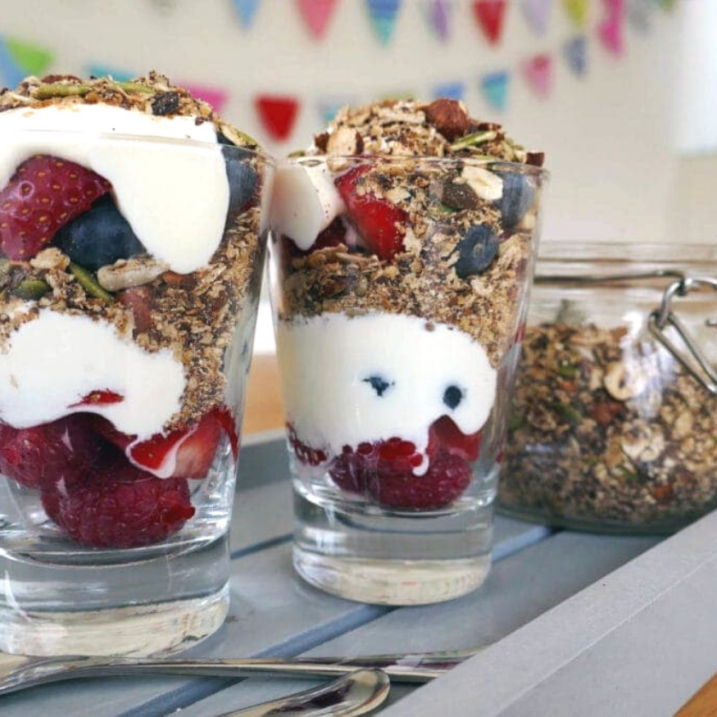 Chocolate and mixed berry granola pots