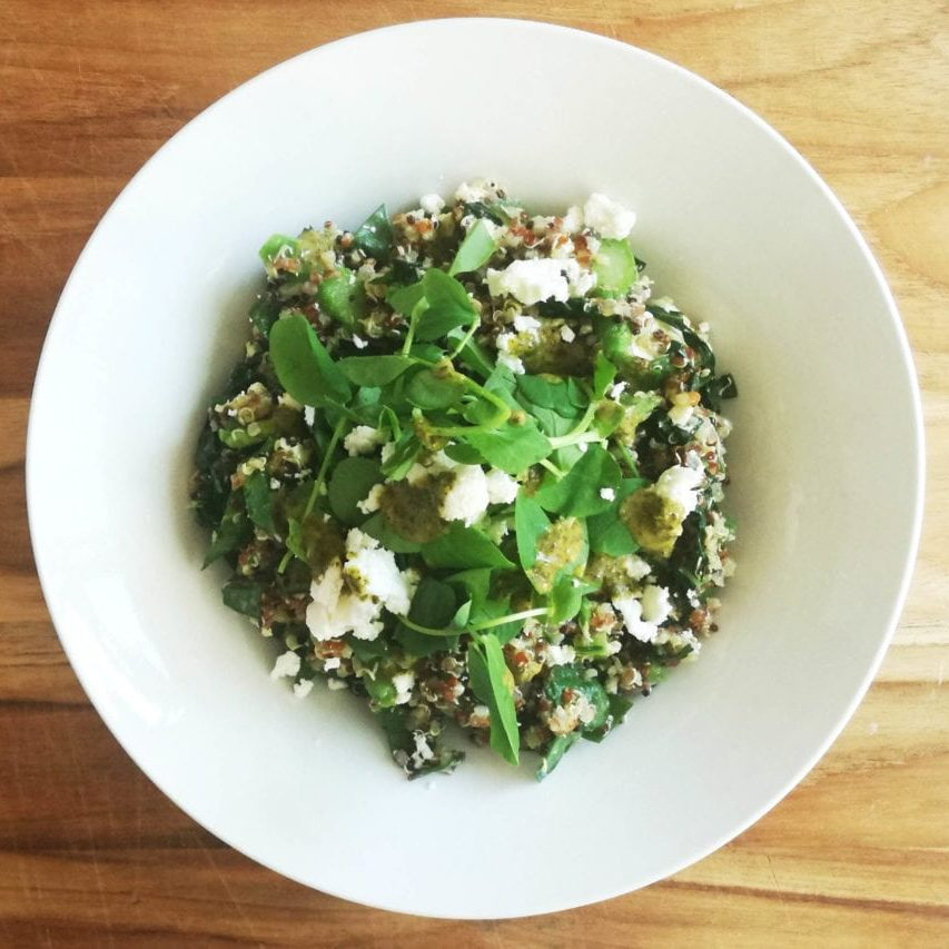 Quinoa Salad with Minted Greens & Feta