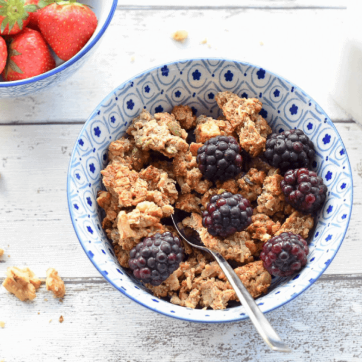 Nut butter granola with coconut and seeds