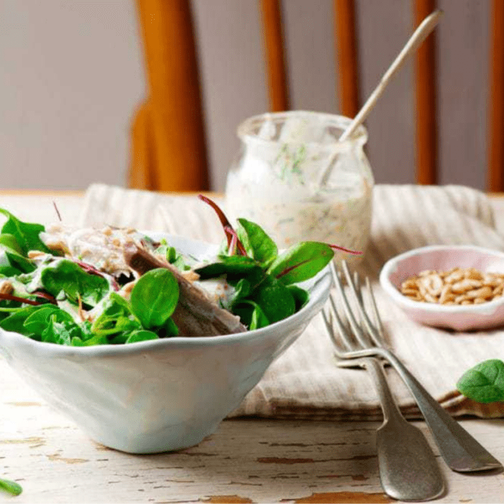 Peppered smoked mackerel and beetroot salad