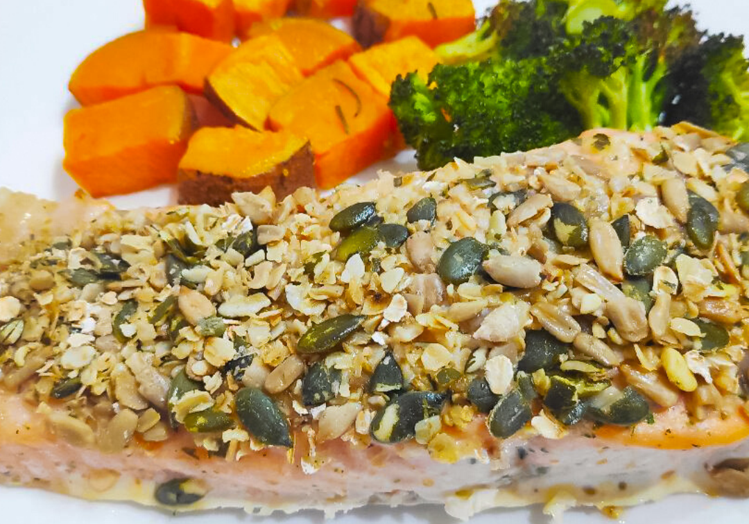 Baked Crusted Salmon with Veg