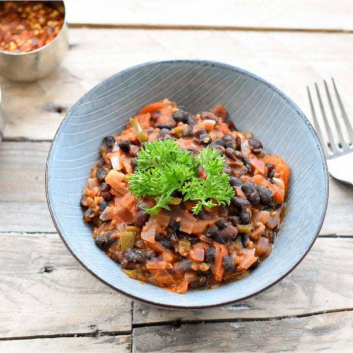 Spicy black beans with garlic and cumin